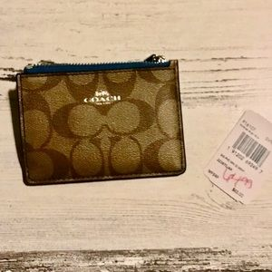 SIGNATURE COACH CARD WALLET KEYCHAIN BLUE